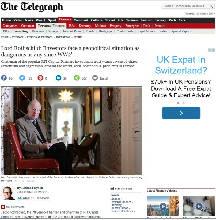 Lord Rothschild Warns Of WW3
